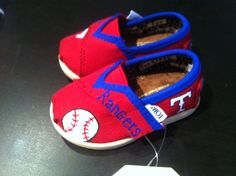 Whenever Sugar Babys foot is big enough, these are awesome! Texas Rangers MLB YOUTH Hand Painted Toms by CustomTomsByBrandi, $65.00