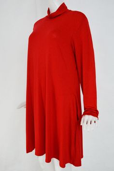 Plus Size High Neck Swing Dress in Red - US$23.95 -YOINS