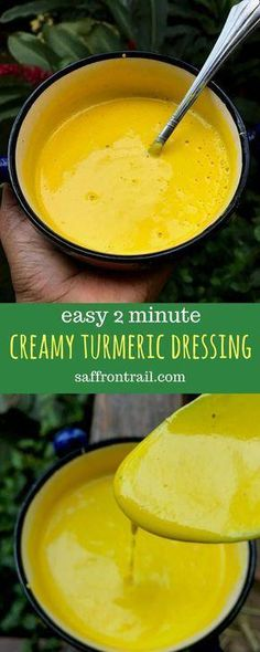 2 Minute Creamy Turmeric Salad Dressing Recipe for an easy 2 minute creamy turmeric salad dressing to add that boost of superfood goodness to your salads [Vegan option included] Turmeric benefits - turmeric recipes - turmeric dressing - turmeric salad dre Turmeric Salad Dressing Recipe, Salad Dressing Recipes, Vegetarian Recipes, Cooking Recipes, Healthy Recipes, Healthy Nutrition, Superfood Recipes, Nutrition Articles, Vegetarian Lunch