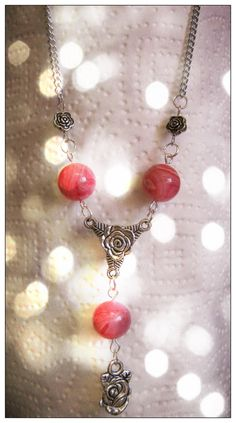 Beautiful Silver Necklace with Pink Striped Agate & Roses by IreneDesign2011