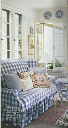 #cottage blue and white gingham