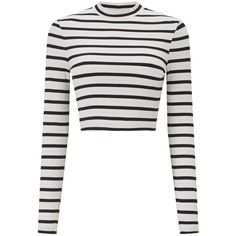 Miss Selfridge Striped Funnel Neck Top ($27) ❤ liked on Polyvore featuring tops, assorted, ribbed long sleeve top, white fitted top, fitted tops, ribbed top and striped crop tops