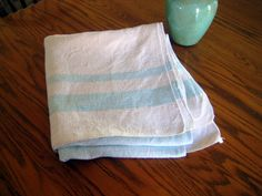 Vintage linen,Patio and Deck,Natural color Linen and blue stripes,Summer Linen Tablecloth at Designs By Willowcreek on Etsy by DesignsByWillowcreek on Etsy