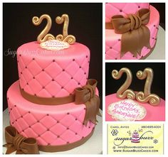 Pink and brown cake.