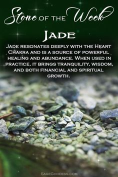 Our stone of the week is jade! If you want to call forth greater levels of harmony, happiness, and prosperity into your life, use it daily by carrying it with you or wearing it as beautiful adornment.