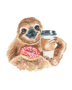 Title: Breakfast of Champs Needing a breakfast to get you going? Coffee and sprinkle donuts are sloth approved. This is a 5x7 PRINT of my original watercolor printing of a sloth with his breakfast. MATERIALS: * textured fine art paper * pigment ink SIZE: 5x7 (12.5 cm x 17.5 cm) FYI this is a 2 toed sloth. There are 2 toed and 3 toed sloths! The things you learn... More 5x7 watercolor prints are listed here: https://www.etsy.com/ca/shop/WaterInMyPaint?section_i...