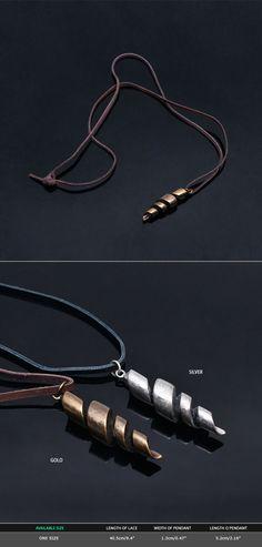 Mens Vintage Twist Metal Charm Necklace By Guylook.com