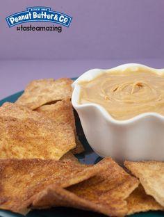 Cinnamon Pita Chips with Peanut Butter Dip #tasteamazing