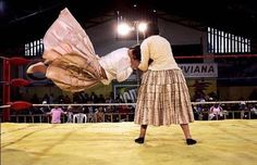 La Paz, Bolivia - Female Wrestlers in action.