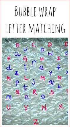 alphabet activities with bubble wrap ID letters, ID sounds, could try blends, digraphs, vowel teams, sight words, etc.