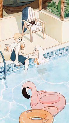 Korean Illustration, Couple Illustration, Graphic Illustration, Cute Couple Drawings, Cute Couple Art, Cute Drawings, Cute Love Cartoons, Cute Cartoon, Aesthetic Drawing