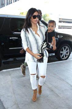 When Kim Kardashian wears stripes, baby North West wears stripes.