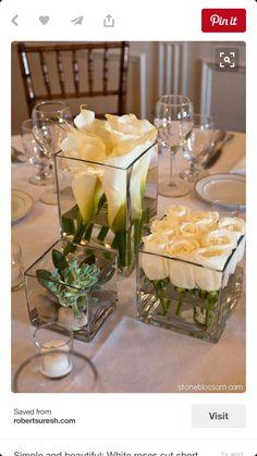 60 Simple & Elegant All White Wedding Color Ideas simple white wedding table setting decor Wedding Centerpieces, Wedding Decorations, Square Vase Centerpieces, Decor Wedding, Wedding Ideas, Centerpiece Ideas, Diy Wedding, Wedding Beach, Simple Table Decorations