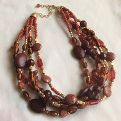 """NWT Adjustable 18""""-21"""" necklace NWT Adjustable 18""""-21"""" necklace. Genuine red agate, red jasper & wood. 5 layers with gold & scarlet beads. jqfrfrqj Lia Sophia Jewelry Necklaces"""