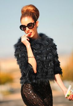 Sequin leggings + fur + prada baroque sunglasses = glam