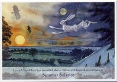 Luna Moon Hare at the Summer Solstice. Straight from the bestselling Luna Moon Hare: A Magical Journey With The Goddess by Wendy Andrew.