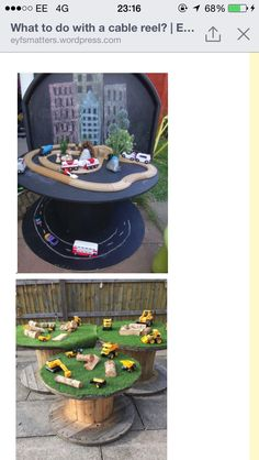Idea for boys Play Mobile, Play Spaces, Learning Spaces, Small World, Wooden Cable Reel, Outdoor Nursery, Preschool Garden, Spool Tables, Farm Crafts