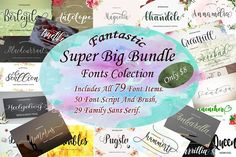 Fantastic Bundle 38 Unique Typefaces by Polem on Pretty Fonts, Beautiful Fonts, Cool Fonts, Creative Fonts, Script Fonts, Typography Fonts, Font Combinations, Character Map, Brush Font