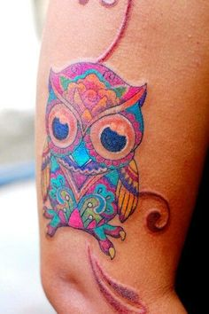 Sugar skull style owl | Tattoos | Pinterest | Owl Watercolor, Owl ...