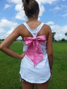 white racerback tank top with big trendy bow by PurpleEyelash, $18.00