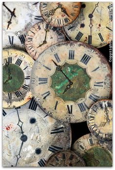 Clock faces with a weathered patina, Brittany, France