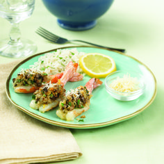 Butterflied #shrimp hold a #savory stuffing of mushrooms, garlic and Parmesan cheese. A perfect dish for an unforgettable dinner! #seafood