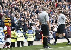 ' Burnley Bee' , the Clarets' mascot, is 'sent off ' by referee Simon Harper after offering him his spectacles in the match between Burnley and QPR. Mental Capacity Act, Risky Business, Burnley, Call To Action, Learning Disabilities, Referee, Bee, England, Community