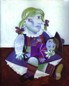 """Maya with Doll is an oil painting by Pablo Picasso. Created in the New York Times described it as """"a colorful Cubist portrait of Picasso's daughter as a child clutching a doll. Kunst Picasso, Art Picasso, Picasso Paintings, Picasso Kids, Portraits Cubistes, Cubist Portraits, Maya, Matisse, Dora Maar"""