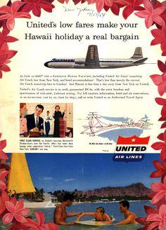 Vintage United Air Lines Ad - 1954