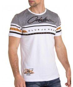 Tee-shirt blanc rayé et écriture stylée brodé pour homme