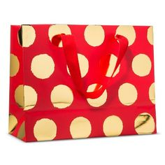 Sugar Paper Red with Gold Dots Gift Bag