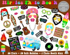 PRINTABLE Hippies Photo Booth Props–Hippies Props-70s Party Props-Hippie Photo Props-Hippie Props-Printable Hippie Party Props-Instant Download 70s Party Decorations, Party Themes, Party Ideas, Fourth Of July Crafts For Kids, Photobooth Props Printable, Kids Photo Props, Hippie Party, Photo Booth Backdrop, Photo Booths