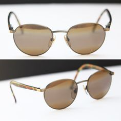 35a89b7567 cherryREVOLVER MAUI JIM Round Sunglasses Brass Bronze Metal Wire Frames  Colorful Tortoise Shell Arms Steampunk Eyewear Polarized Mirror Lens