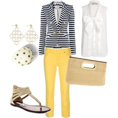 Navy, Yellow & Gold, created by sdanitz on Polyvore