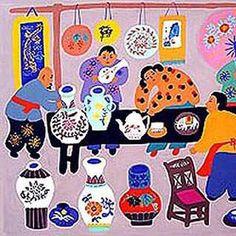 Folk painting from China. Painting ceramics.