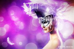 Woman with white feather mask Photography by Dimitar Hristov - 54ka Model: Bojidara Dyulgerova Mask maker and Photographer: Dimitar Hristov ::  attractive beak beautiful Beauty bill blue carnaval carnival