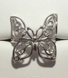 BEAUTIFUL CZ SOLID 925 Sterling Silver Wide Butterfly Ring Sz 8 #Statement