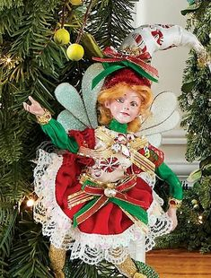 Clad in the finest and most festive hand-sewn finery, with features molded from original sculptures, Mark Roberts' Peppermint Patty Fairy is a sprightly and festive addition to any holiday home. All features and embellishments are carefully handcrafted by skilled artisans.
