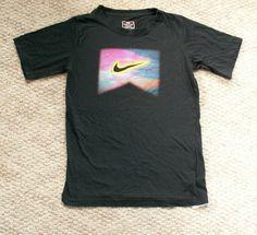 Nike Tee Top black rainbow pixel logo L 12-14  EUC #Nike