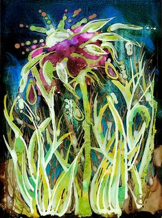 A4 print of original flower alcohol ink painting by ElliePlayerArt