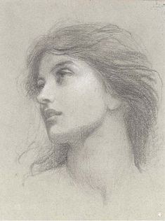 Sir Francis Bernard Dicksee, P.R.A. (1853-1928) Study for the head of the damsel in 'Chivalry' pencil and white chalk on grey paper, watermark 9¾ x 7½ in. (24.8 x 19.1cm.) Christie's