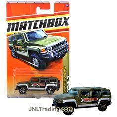 Matchbox Year 2010 Outdoor Sportsman Series 1:64 Scale Die Cast Car Set #83 - Big Water Rafting Dark Green SUV/Sport Utility Truck HUMMER H3 T8980