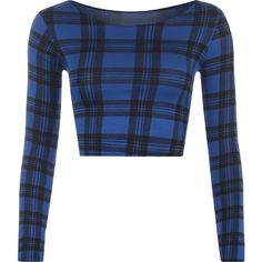 Adriana Blue Tartan Print Crop Top ($12) ❤ liked on Polyvore featuring tops, shirts, blue, plaid shirt, blue plaid shirt, long-sleeve crop tops, white long sleeve shirt and long sleeve crop top