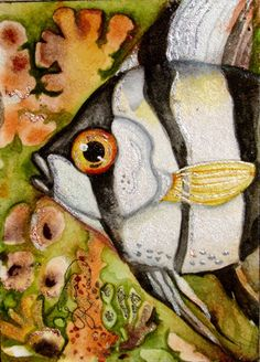 Lisa Luree Original ANGELFISH tropical fish ACEO watercolor painting angel ooak