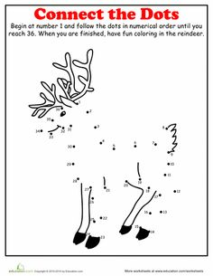Christmas Math Worksheets: Christmas Dot to Dot: Reindeer