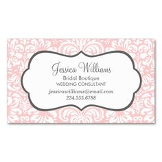 Light Pink and Charcoal Elegant Floral Damask Double-Sided Standard Business Cards (Pack Of 100). I love this design! It is available for customization or ready to buy as is. All you need is to add your business info to this template then place the order. It will ship within 24 hours. Just click the image to make your own!
