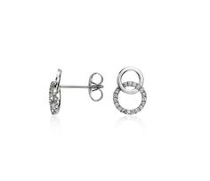 Duet Diamond Circle Earrings in 14k White Gold