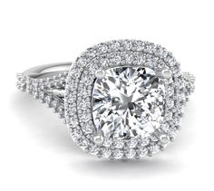 Cushion Cut Double Halo Engagement Ring