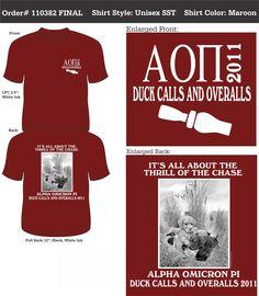 Alpha Omicron Pi Duck Calls and Overalls  http://www.greekt-shirtsthatrock.com/
