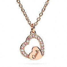 Pave Coach Script Heart Necklace